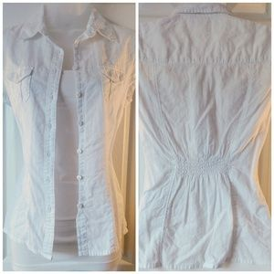🔵 SO Short Sleeve White Button Up w/ Cinched Back